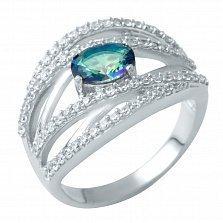 Серебряное кольцо Дафна с мистик топазом и фианитами