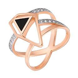 Золотое кольцо Магия геометрии в комбинированном цвете с черным агатом и фианитами 000121303