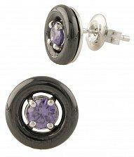 Серебряные серьги-пуссеты Богема с черной керамикой и фиолетовым цирконием