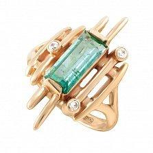 Золотое кольцо Ксена с аквамарином и фианитами