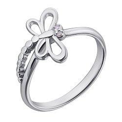 Серебряное кольцо Стрекоза с бриллиантами 000040319