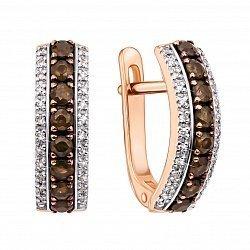 Золотые серьги в комбинированном цвете с коньячными и белыми бриллиантами 000136029