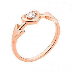 Золотое кольцо с фигурной шинкой и фианитом 000101661