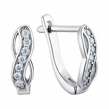 Серебряные сережки с фианитами 000122976