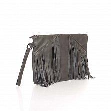 Кожаный клатч Genuine Leather 8191 темно-серого цвета с бахромой и короткой ручкой на запястье