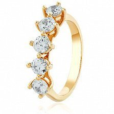 Золотое кольцо с кристаллами Swarovski Азалия