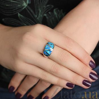 Серебряное кольцо с  синтезированным опалом Ультрамарин 000032390