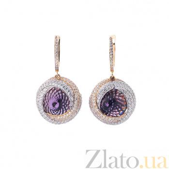 Золотые серьги-подвески Каталина с фиолетовым и белыми фианитами 000082568