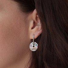 Серебряные серьги-подвески Цветные сны с разноцветной эмалью