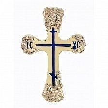 Золотой крест с ювелирной эмалью Небесная защита