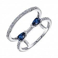Кольцо в белом золоте Галатея с сапфирами и бриллиантами