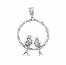 Серебряный кулон Поющие птицы с белыми фианитами