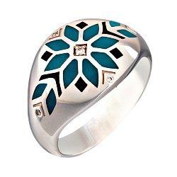 Кольцо в белом золоте с бриллиантами и эмалью 000073412