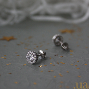 Серебряные серьги-пуссеты Солнышко с белым цирконием, 6мм 000031127