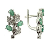 Серебряные серьги с бриллиантами и изумрудами Хелми
