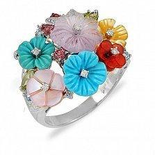Золотое кольцо с аметистом, бирюзой, гранатами и перламутром Цветочное поле