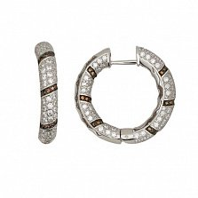 Серьги-кольца из белого золота с оранжевыми и белыми фианитами Зена