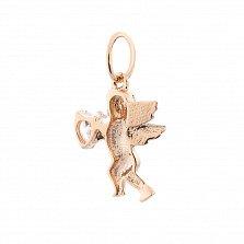 Золотая подвеска Танцующий ангелочек с фианитом в форме сердца