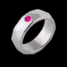 Женское обручальное кольцо Океан в белом золоте с розовым сапфиром