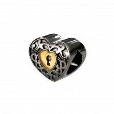 Серебряный шарм с чернением и позолотой Сердечная тайна