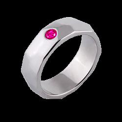 Женское обручальное кольцо Океан в белом золоте с розовым сапфиром 000068700