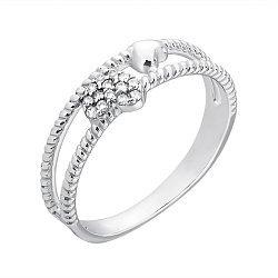 Серебряное кольцо Сердечный ритм с двойной шинкой и фианитами