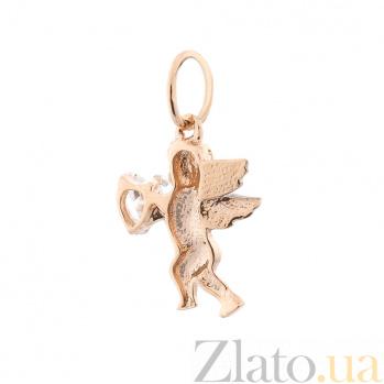 Золотая подвеска Танцующий ангелочек с фианитом в форме сердца 000082502
