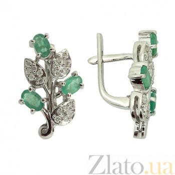 Серебряные серьги с бриллиантами и изумрудами Хелми ZMX--EDE-6154-Ag_K