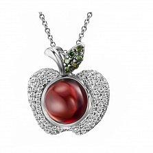Кулон из белого золота Райское яблоко с бриллиантами и гранатом