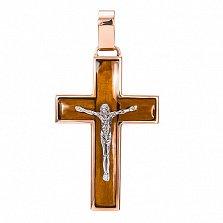 Золотой крест Илья со вставкой дерева