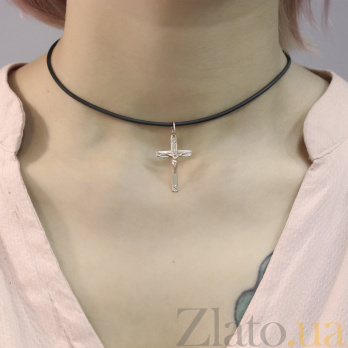 Крестик из красного золота Духовный символ на прямой основе с насечкой EDM--КР057