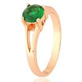 Позолоченное серебряное кольцо с зеленым фианитом Мелита