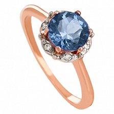 Золотое кольцо Ада с корундом и фианитами