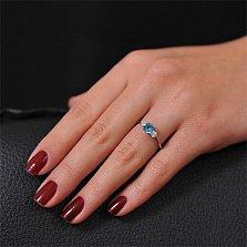 Золотое кольцо с топазом и фианитами Миледи