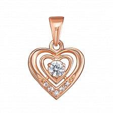 Кулон в красном золоте Сердце с кристаллами Swarovski