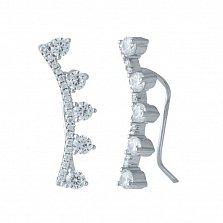 Серебряные серьги-каффы Мальтия с дорожками белых фианитов