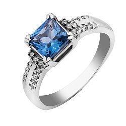 Серебряное кольцо Либерика с кварцем London blue и фианитами