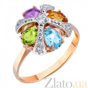 Золотое кольцо с полудрагоценными камнями Марго AUR--31564 16