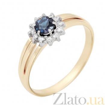 Золотое кольцо Камилла в комбинированном цвете с сапфиром и бриллиантами VLA--12371