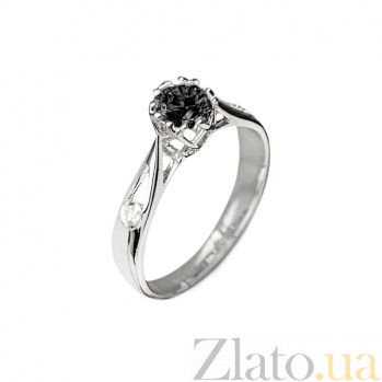 Кольцо в белом золоте Флер с фианитом и бриллиантами 000079312