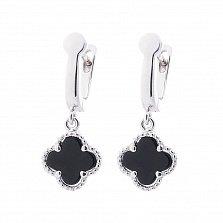 Серебряные серьги-подвески Клевер с черным ониксом в стилде Ван Клиф