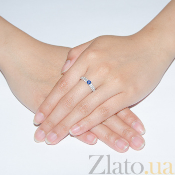 Серебряное кольцо Лана с сапфиром и цирконами 1637/9р сапфиром