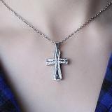 Серебряный крест Путь с фианитами