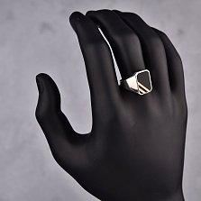 Серебряный перстень-печатка Елисей с черными ониксом и эмалью и золотыми накладками