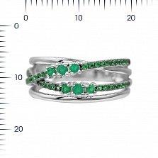 Серебряное кольцо Музыка лета с халцедоном и зелеными фианитами