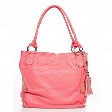 Кожаная сумка на каждый день Genuine Leather 8954 кораллового цвета с декоративной кистью на цепочке