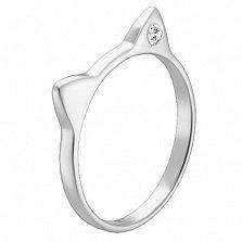 Серебряное кольцо Cat с цирконием