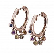 Серьги-кольца Каролина из красного золота с сапфирами микс