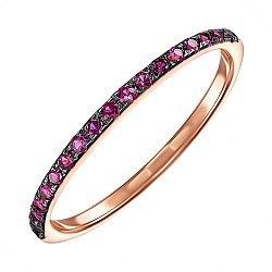 Кольцо из красного золота с розовыми фианитами и черным родием 000137503