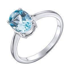 Серебряное кольцо с голубым топазом 000140731